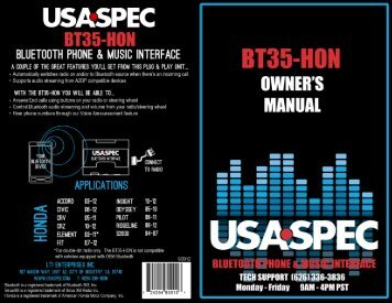 table of contents - USA Spec