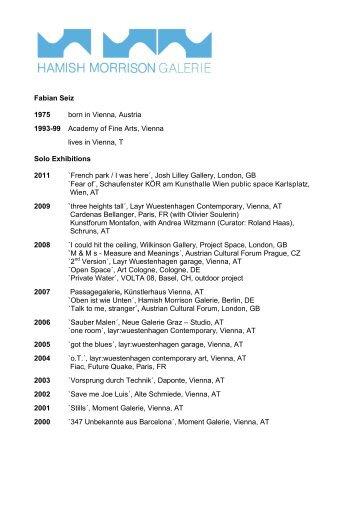 Fabian Seiz 1975 born in Vienna, Austria 1993-99 Academy of Fine ...