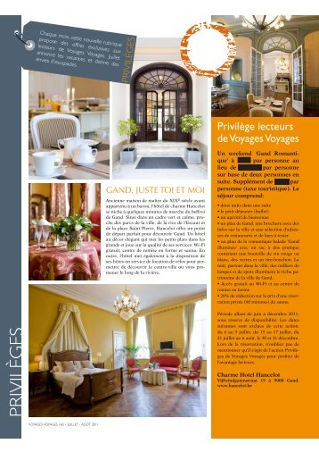 Privilèges - Hotel Hancelot
