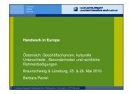 Handwerk in Europa Österreich - Landesvertretung der ...