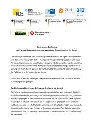 Gemeinsame Erklärung der Partner des Ausbildungspaktes und der ...