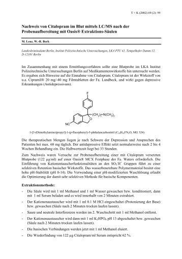 Nachweis von Citalopram im Blut mittels LC/MS nach der ... - GTFCh