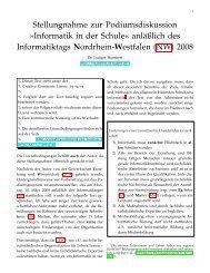 Didaktik der Informatik - Informatiktag 2008 -- AntwortAnfrage
