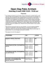 Open Dag Pabo Arnhem Zaterdag 8 maart 2008 10.00 - 15.00 uur