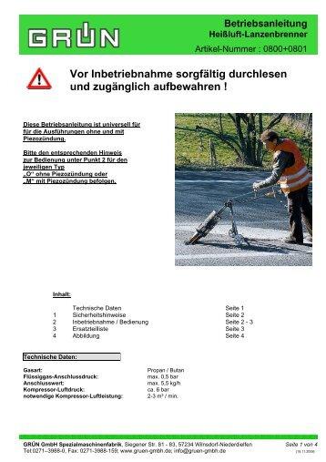 Betriebsanleitung Heißluft-Lanzenbrenner - Grün GmbH