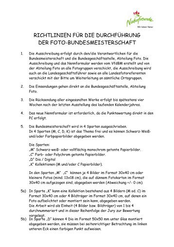 richtlinien für die durchführung der foto-bundesmeisterschaft