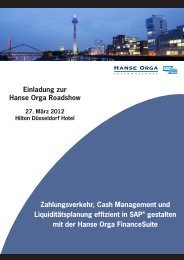 Einladung zur Hanse Orga Roadshow ... - Hanse Orga AG