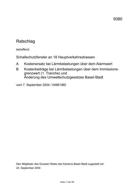 Ratschlag - Grosser Rat - Basel-Stadt