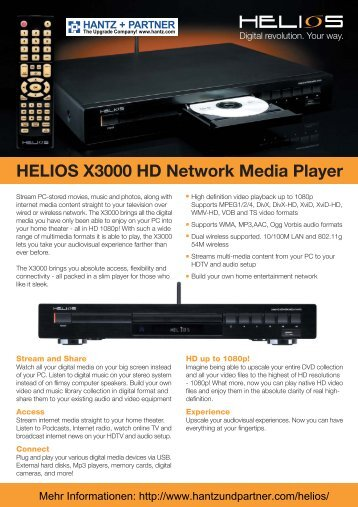 HELIOS X3000 HD Network Media Player