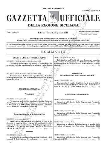 N. 04-Venerdì 27 Gennaio 2012 (PDF) - Gazzetta Ufficiale della ...
