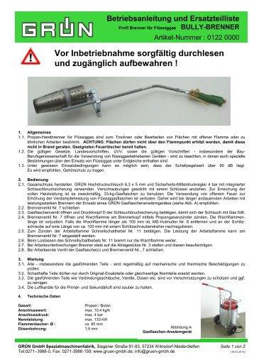Betriebsanleitung und Ersatzteilliste - Grün GmbH