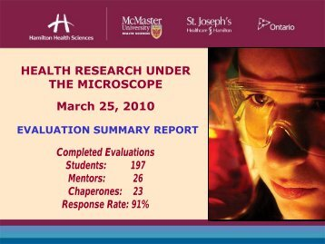 HEALTH RESEARCH UNDER THE MICROSCOPE March 25, 2010