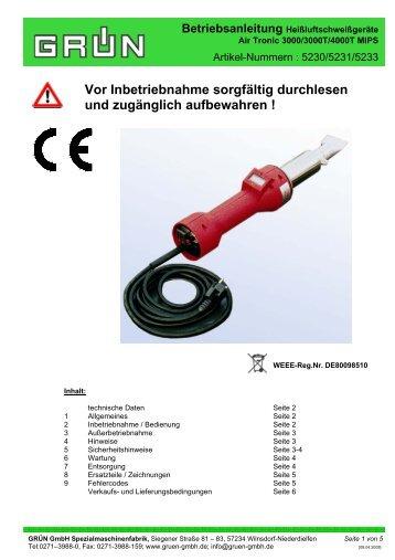 Betriebsanleitung Heißluftschweißgeräte - Grün GmbH