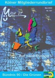 Nr. 197• Mai 2004 - Bündnis 90/Die Grünen Kreisverband Köln