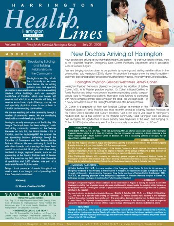 New Doctors Arriving at Harrington - Harrington Memorial Hospital