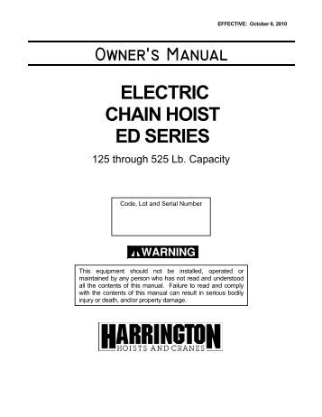 r m materials handling i owners manual harrington hoists and cranes