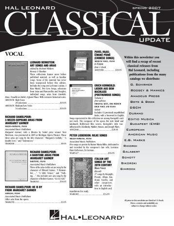 2007 Spring Classical Update (757KB) - Hal Leonard