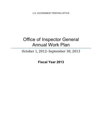 Office of Inspector General Annual Work Plan - U.S. Government ...