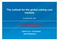 Presentation: The outlook for the global coking coal markets ... - Hatch