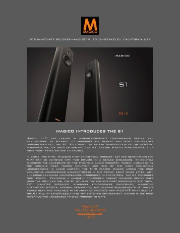 MAGICO INTRODUCES THE S1 - Goodwin's High End