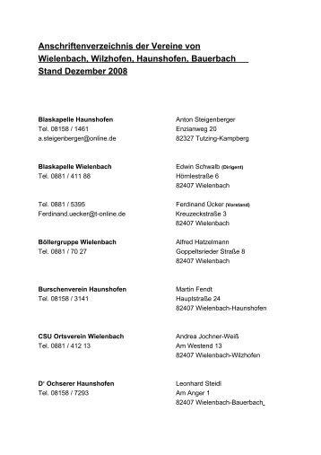 Anschriftenverzeichnis der Vereine von