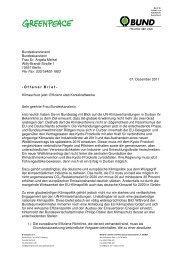 Offener Brief an Merkel von BUND und Greenpeace
