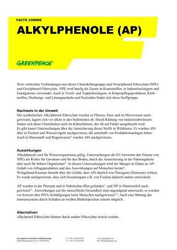 ALKYLPHENOLE (AP) - Greenpeace Gruppen in Deutschland