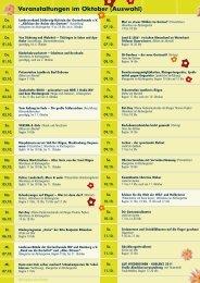Veranstaltungen im Oktober (Auswahl) - Hauspost