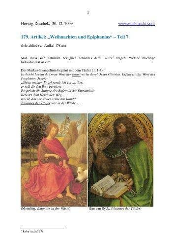 179. Artikel: ?Weihnachten und Epiphanias? ? Teil 7 - Gralsmacht