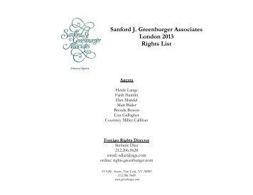 Sanford J. Greenburger Associates London 2013 Rights List