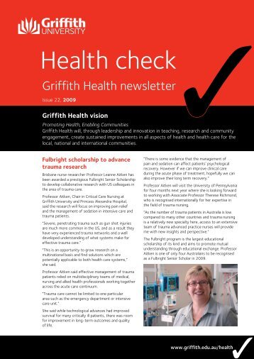 Health Check Issue 22 2009 (PDF 437k) - Griffith University