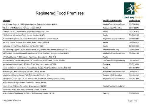 Registered Food Premises