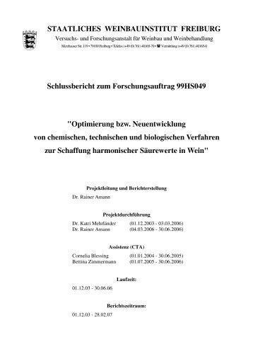 Schlussbericht zum Forschungsauftrag 99HS049 - BLE