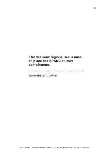 Etat des lieux régional sur la mise en place des SPANC et ... - Graie