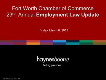 Fort Worth Chamber of Commerce 23rd Annual Employment Law ...