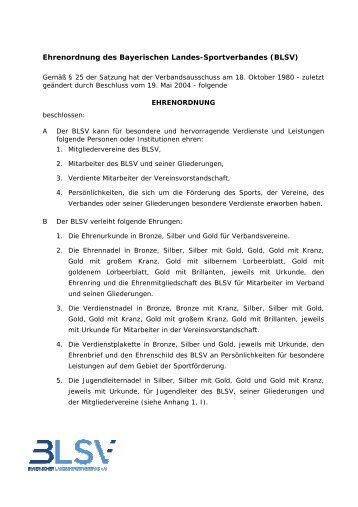 Ehrenordnung - Bayerischer Landes-Sportverband e.V.