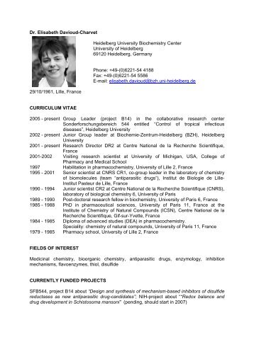 Dr. Elisabeth Davioud-Charvet Heidelberg University ... - HBIGS