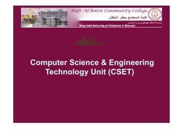 Download overview of CSET Unit (pdf - Hafr Al-Batin Community ...