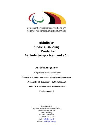 Richtlinien für die Ausbildung im Deutschen ... - DBS