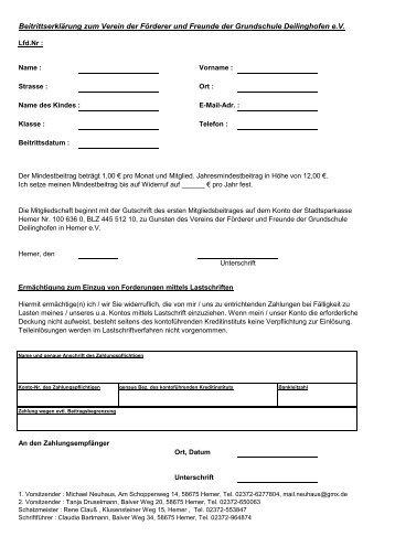 Beitrittserklärung - Grundschule Deilinghofen