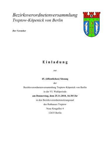 Bezirksverordnetenversammlung Treptow-Köpenick von Berlin