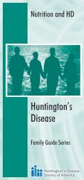 Nutrition and Huntington's Disease: A Guide for Families