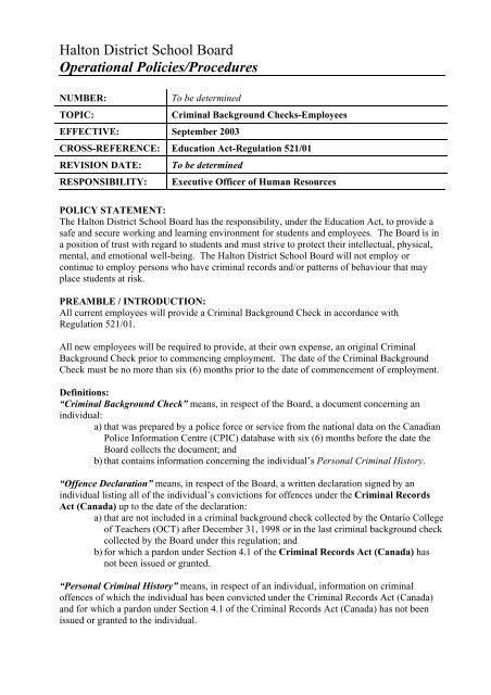 board canadian check criminal policy record school