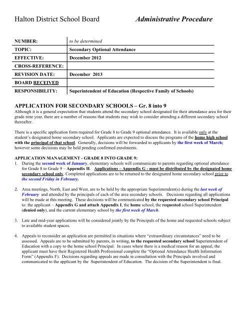 Secondary Optional Attendance Halton District School Board