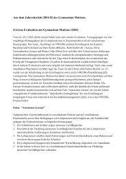 Externe Evaluation am Gymnasium Muttenz (2002)