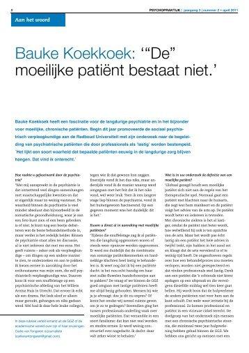 """Bauke Koekkoek: '""""De"""" moeilijke patiënt bestaat niet.'"""