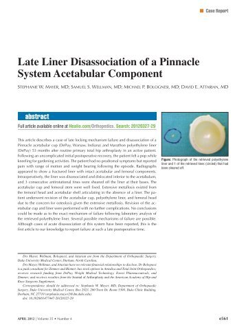Late Liner Disassociation of a Pinnacle System Acetabular ... - Healio