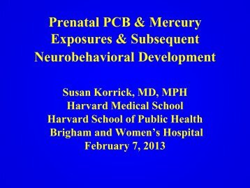 Prenatal PCB and Mercury Exposures and Subsequent ...