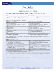 MEDICAL HISTORY FORM - Pro-Health & Fitness Center