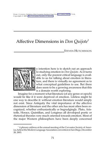 Affective Dimensions in Don Quijote - H-Net